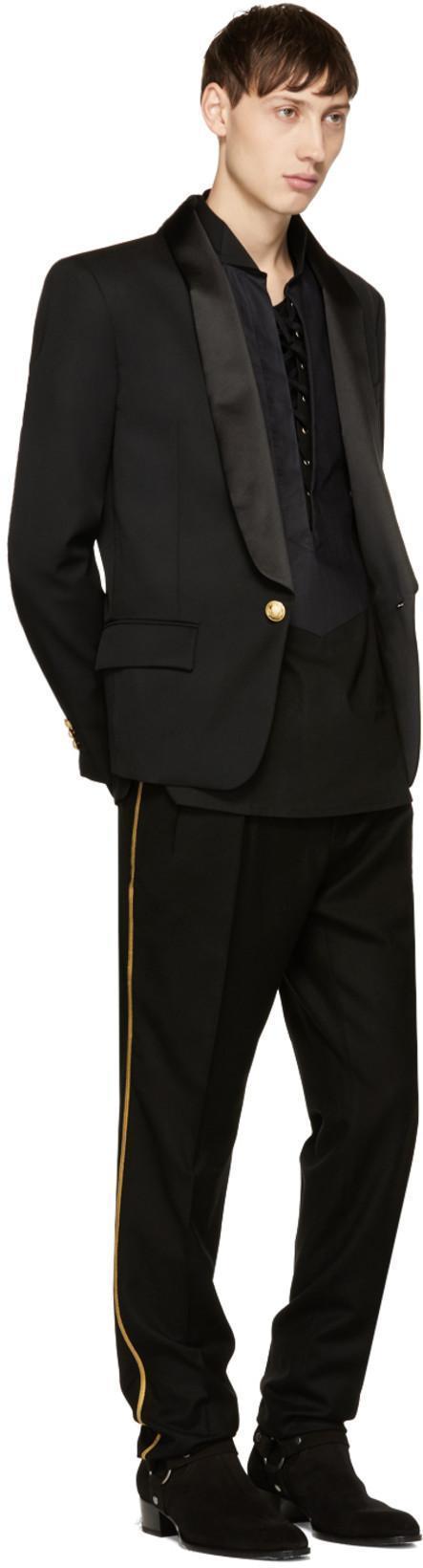 SAINT LAURENT Slim-Leg Side-Trimmed Wool Tuxedo Trousers, Black