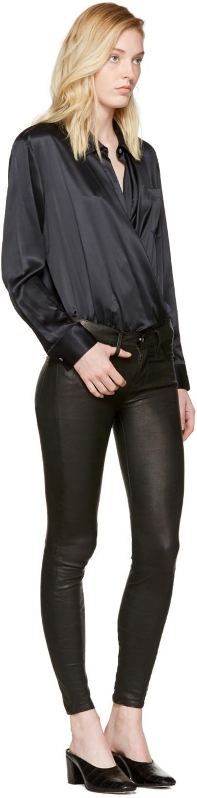 T BY ALEXANDER WANG Silk Charmeuse Long Sleeve Wrap Shirt Bodysuit - Black