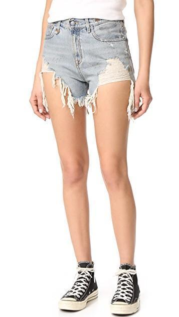 R13 Shredded Slouch Denim Shorts, Rutland Painted