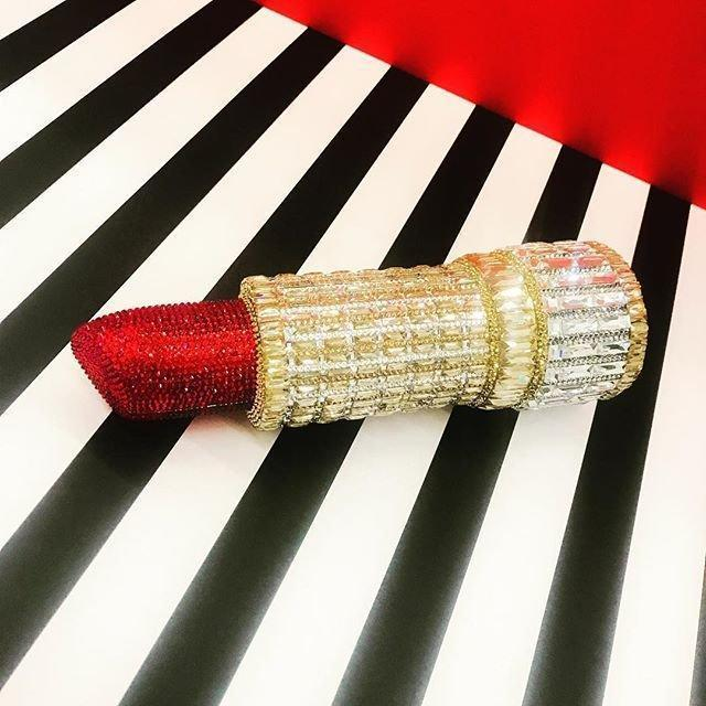 JUDITH LEIBER Seductress Crystal Lipstick Clutch Bag in Red/Gold