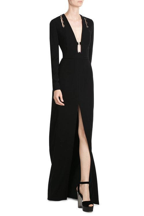 MUGLER Long-Sleeve Open-Back Gown W/Metallic Hardware, Black