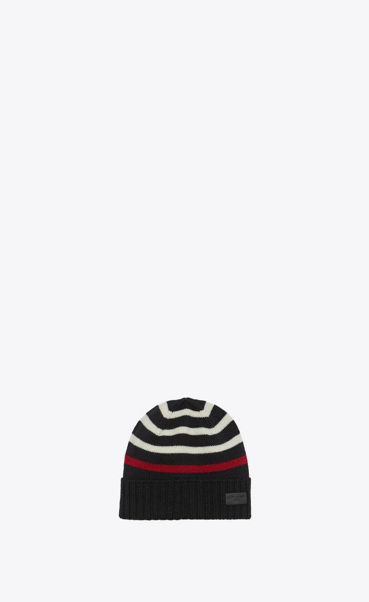 f6f150e7da5 SAINT LAURENT MARIN KNIT HAT IN BLACK AND WHITE KNIT WOOL