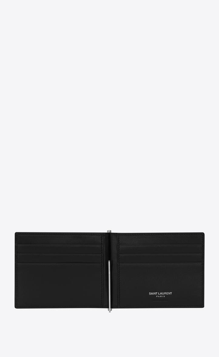 SAINT LAURENT Id Bill Clip Wallet In Stamped Crocodile Leather, Black
