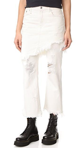 R13 Double Classic Skirted Jeans, Leyton White