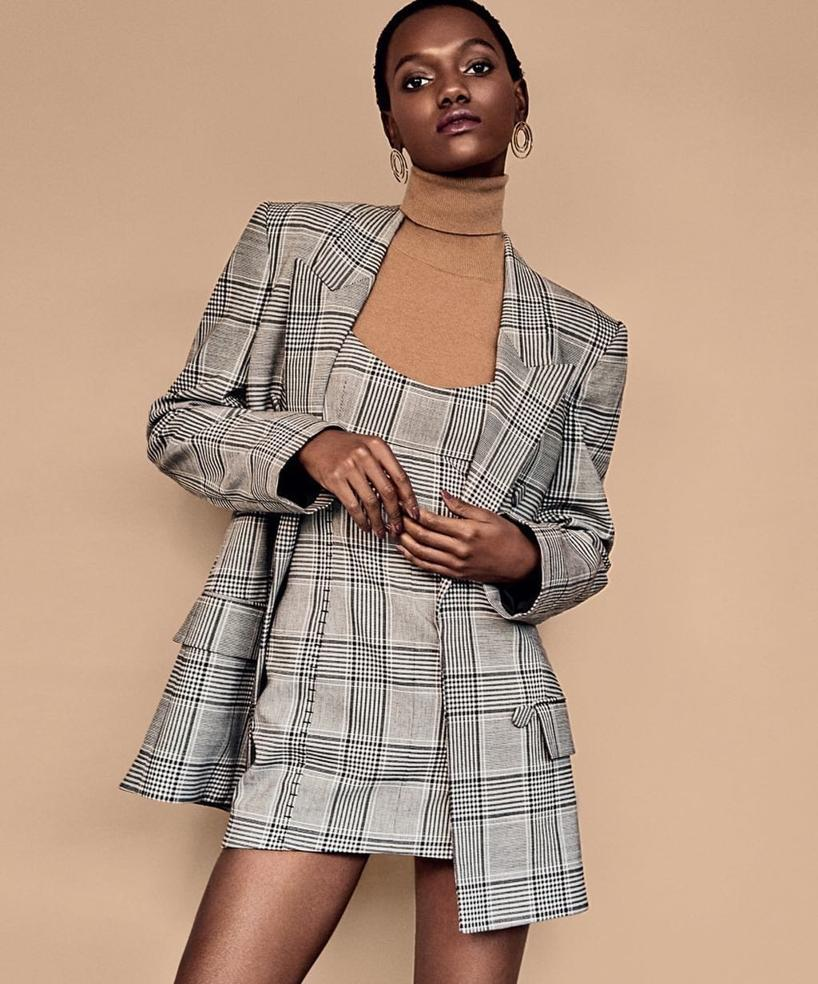 ALEXANDER WANG Check Tailoring Blazer With Leather Sleeves, Black,White,No Color