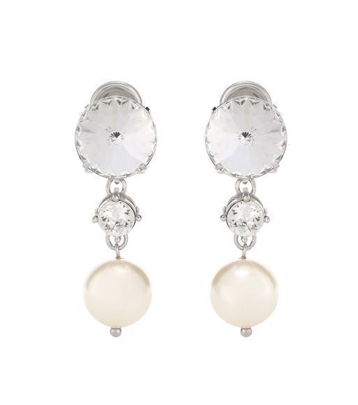 MIU MIU Faux-Pearl And Crystal Clip-On Earrings, Cream+Opal
