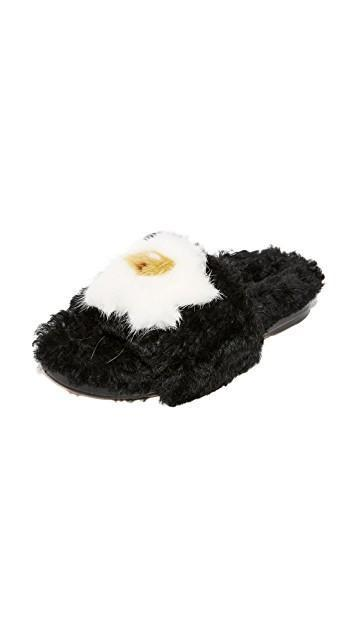 ANYA HINDMARCH Slider Egg Shearling Slides, Black