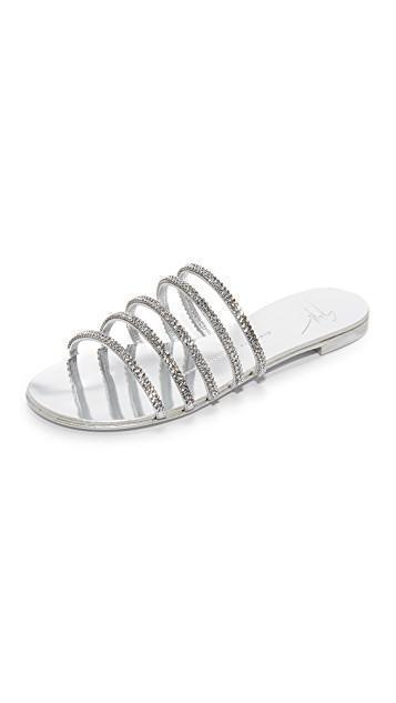 GIUSEPPE ZANOTTI - Silver Laminated Flat Sandal With Crystals Michela, Argento