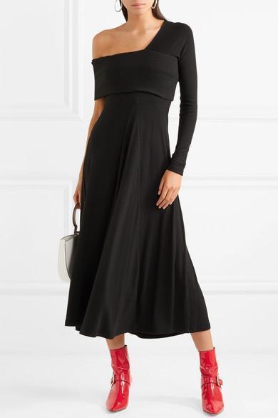 Alora Asymmetric Ribbed Stretch-knit Maxi Dress - Black Beaufille 5bwxc