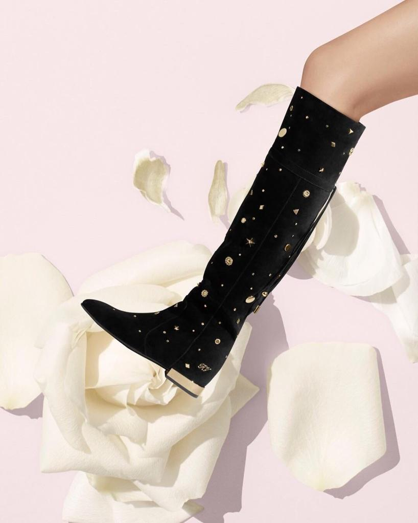 ROGER VIVIER New Polly Astre Studs Over-The Knee Boots In Suede