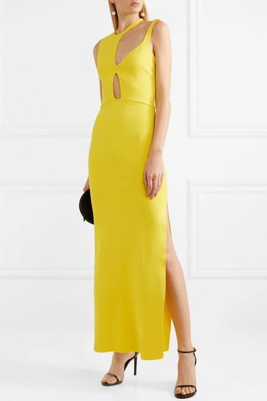Ebay Sale Online Cutout Stretch-knit Gown - Bright yellow Esteban Cortazar Buy Cheap Supply Clearance Fake PwBlhvKicG