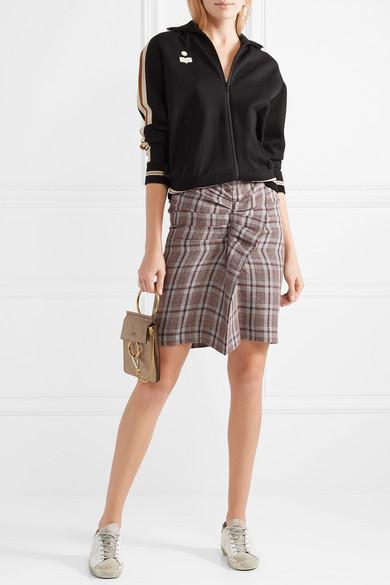 Ines Ruffled Checked Linen Skirt - Brick Isabel Marant