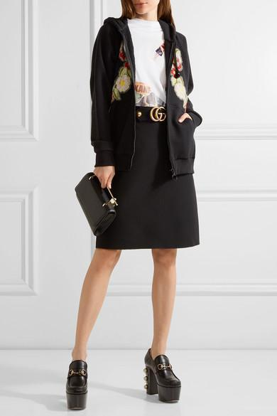 GUCCI Embroidered & Printed Zip-Up Sweatshirt, Black
