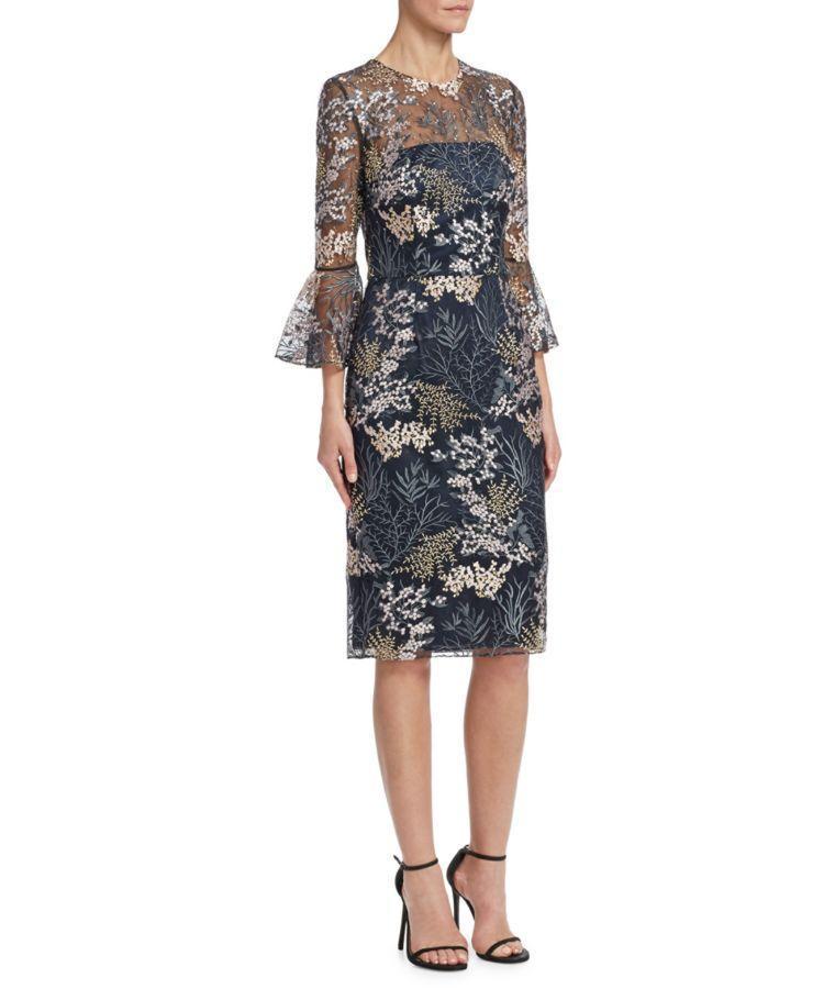DAVID MEISTER Embroidered Bell Sleeve Dress, Navy | ModeSens