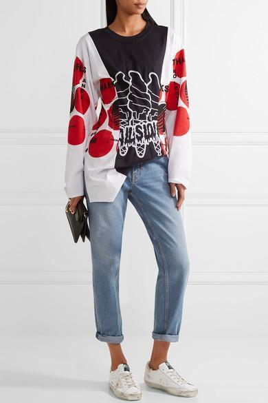 STELLA MCCARTNEY 'Aurelia' Mixed Slogan Print Colourblock Top