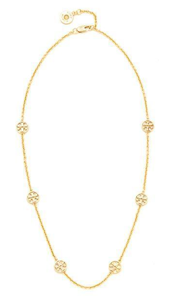 TORY BURCH Delicate Logo Necklace, 18, Na