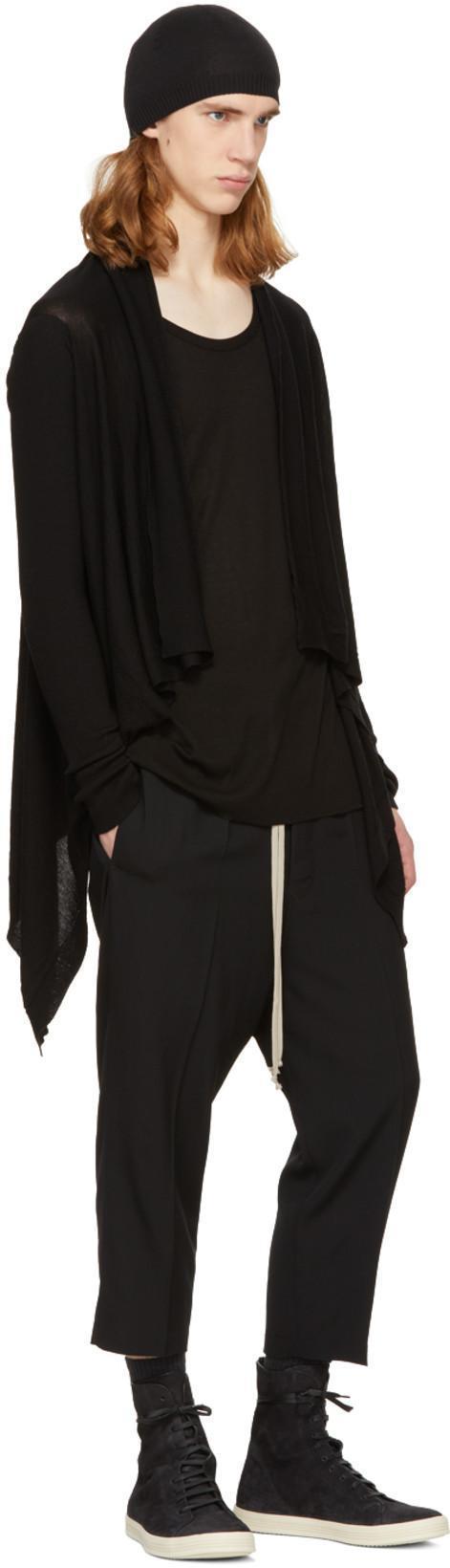 RICK OWENS Black Small Cashmere Beanie