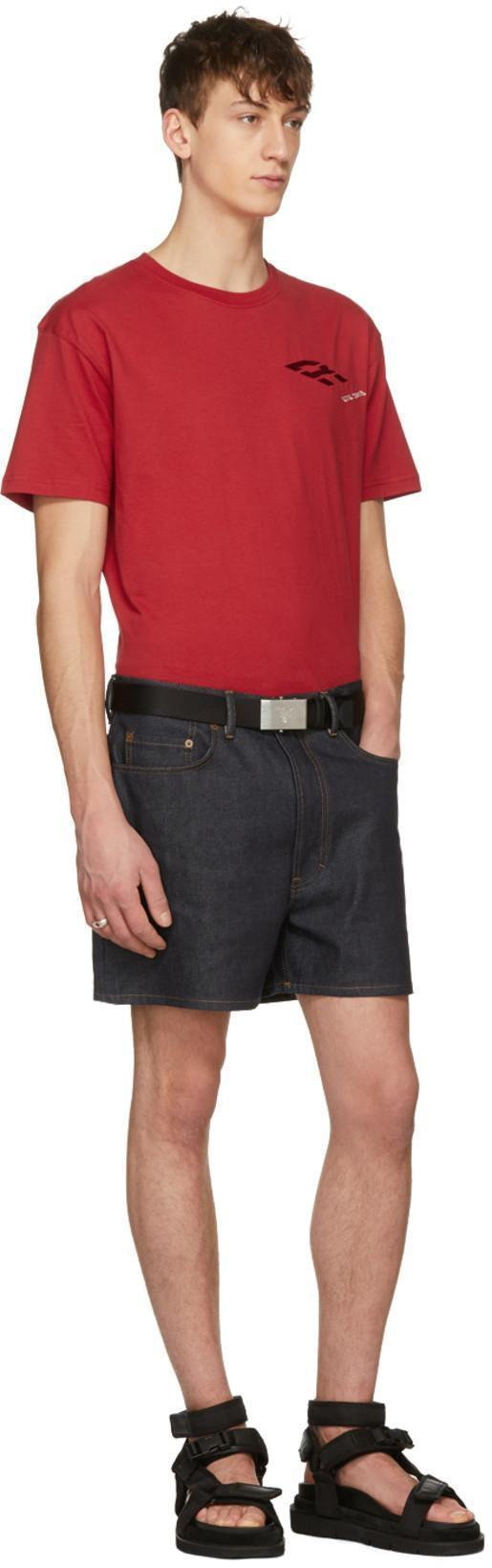 PRADA Reversible Leather Plaque Belt, Black/Blue