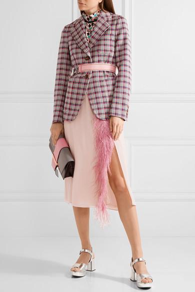 PRADA Feather-Trimmed Silk-Georgette Midi Skirt, Alalastro