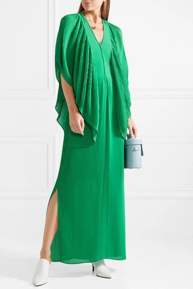 For Nice For Sale Middanna Draped Plissé-chiffon Maxi Dress - Green By Malene Birger Outlet Collections iO1iR0