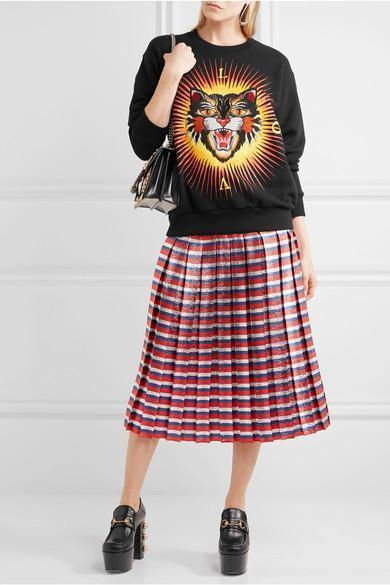 GUCCI Pleated Striped Silk-Blend Lamé Midi Skirt, Red Blue