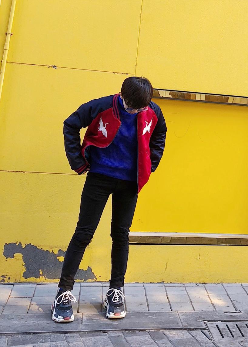 BALENCIAGA Men'S Triple S Mesh & Leather Sneakers, Blue in Grey