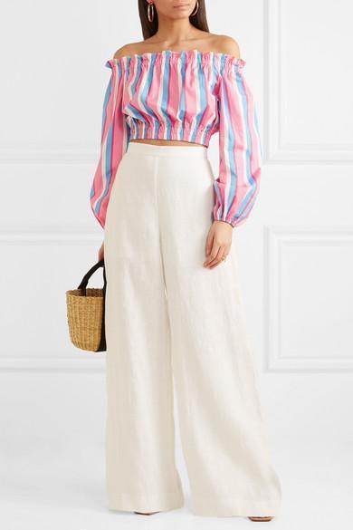 ZIMMERMANN Lovelorn High-Waist Wide-Leg Linen Trousers, Ivory