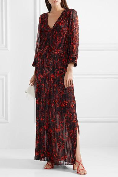 Midotter Pleated Printed Chiffon Maxi Dress - Black By Malene Birger Ek7Sti