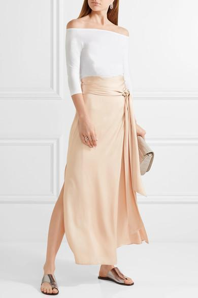 b8410ef56d ELIZABETH AND JAMES Almeria Wrap-Tie Maxi Skirt W/ Slit, Blush, Meadow