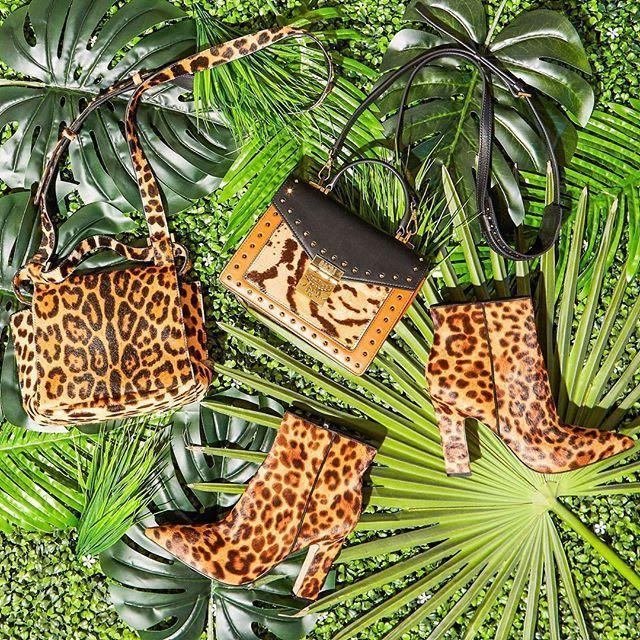 ELENA GHISELLINI Small Leopard Calf Hair Top Handle Satchel in Leopard/Black/Gold