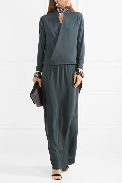 Akumal Embellished Wrap-effect Crepe Maxi Dress - Emerald By Malene Birger Free Shipping Cheap Quality OCv2Y0E1t
