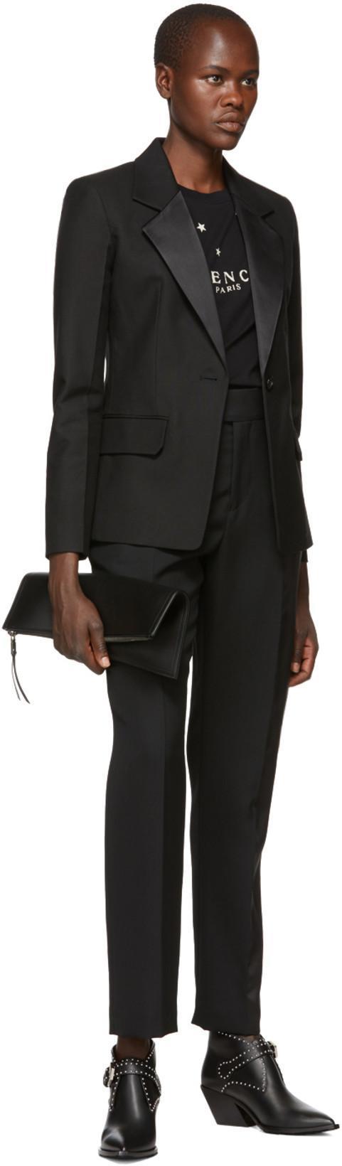 GIVENCHY Black Elegant 60 Studded Leather Ankle Boots