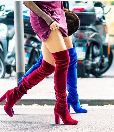 AQUAZZURA Velvet Over-The-Knee Boots