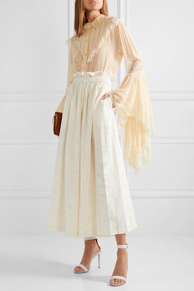 5013e3e2a192 Gucci Pleated Silk-Taffeta Wide-Leg Pants In Ivory
