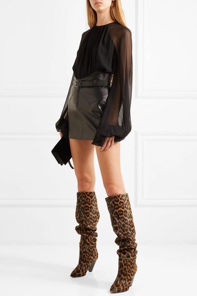6b2f391f832fb SAINT LAURENT Niki Leopard-Print Calf Hair Knee Boots in Leopard Print