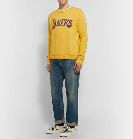 + Nba Los Angeles Lakers Intarsia Cashmere Sweater - YellowThe Elder Statesman Dernières Collections Bon Marché 4XfTHD