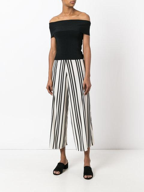 ALICE AND OLIVIA Sherice Striped Georgette Wide-Leg Pants