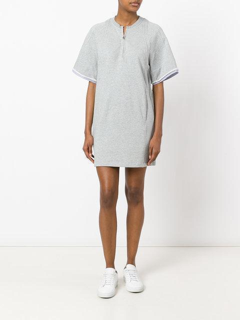 3.1 PHILLIP LIM Embroidered Cotton French Terry Tunic Dress