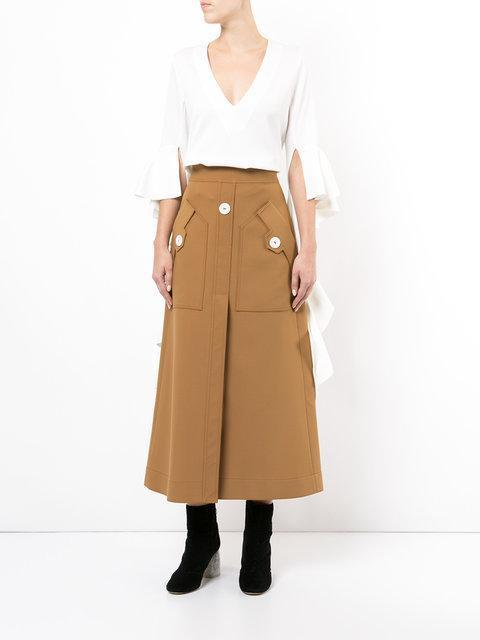 ELLERY 'Ritzy Fence' A-Line Suiting Skirt, Camel