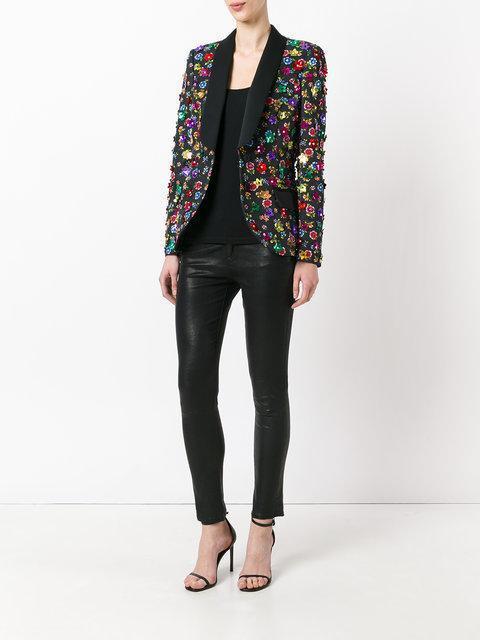 MOSCHINO Floral Embroidered Blazer, Black