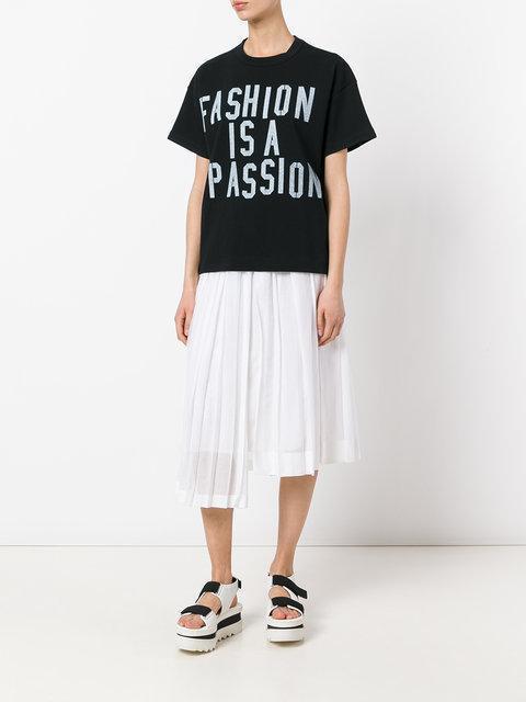 SACAI Loose-Fit T-Shirt, White Logotype|Bianco