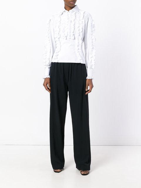 DOLCE & GABBANA Cotton Shirt With Ruche Details, White