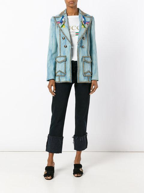 GUCCI Embroidered Denim Jacket With Studs, Slate