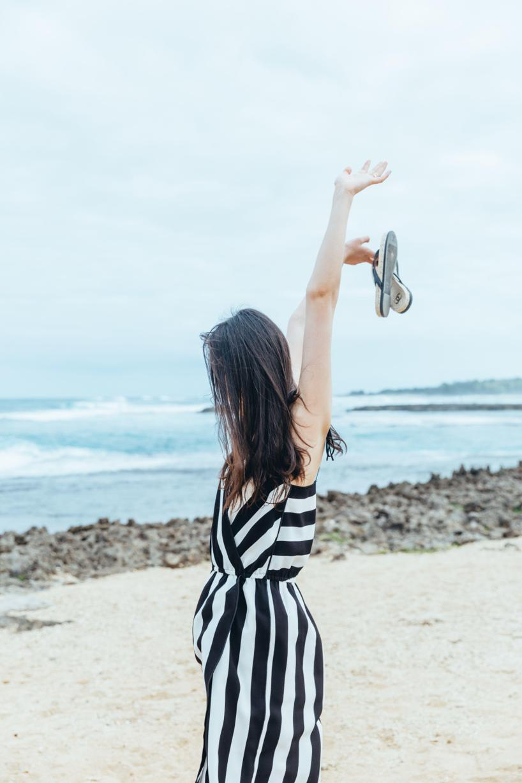 MARC JACOBS Striped Crepe Slip Dress, Black/White